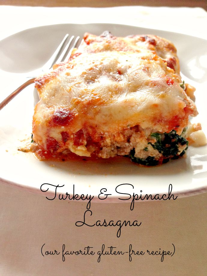 this little joy - turkey and spinach gluten-free lasagna