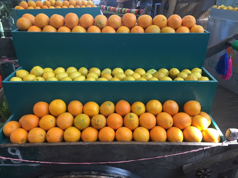 The Lemon Drop Juice has colorful citrus carts.