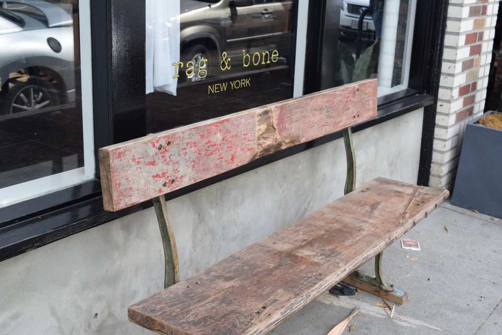 Love the rustic bench outside of Rag and Bone.