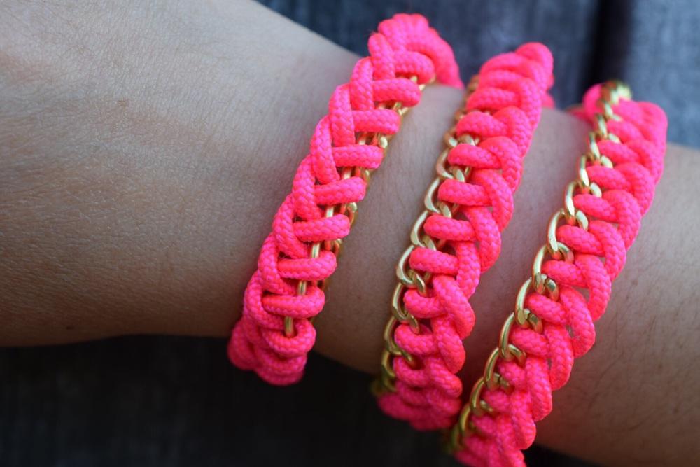 Neon woven bracelet/necklace.