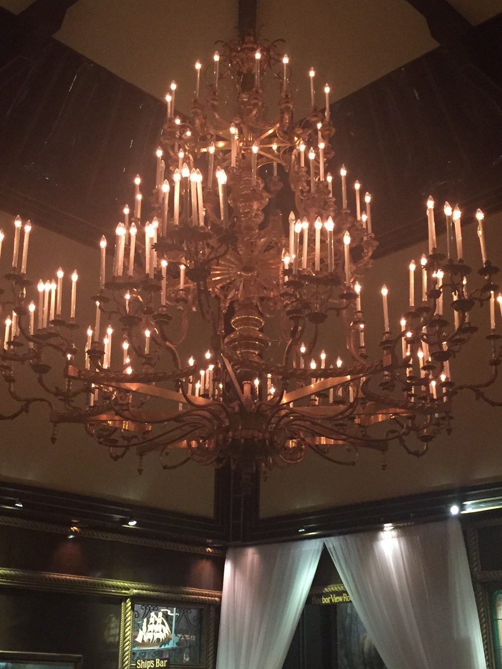 A gorgeous chandelier from an 18th century Russian Church in the yacht club.