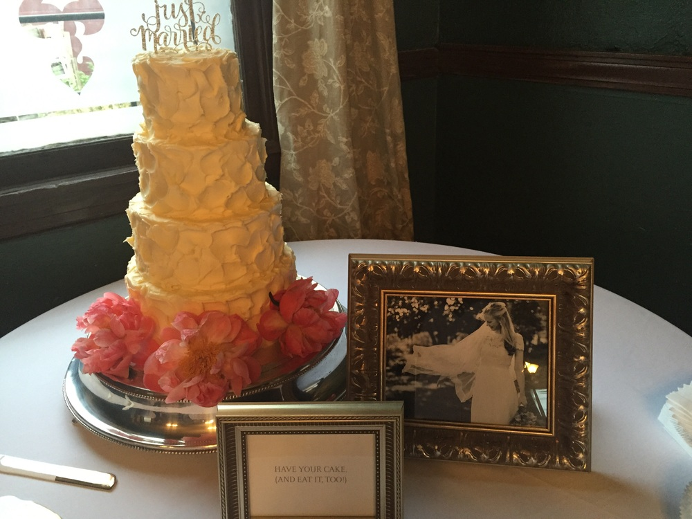 That cake!  The bride's dress was from Anthropologie's bridal collection BHLN
