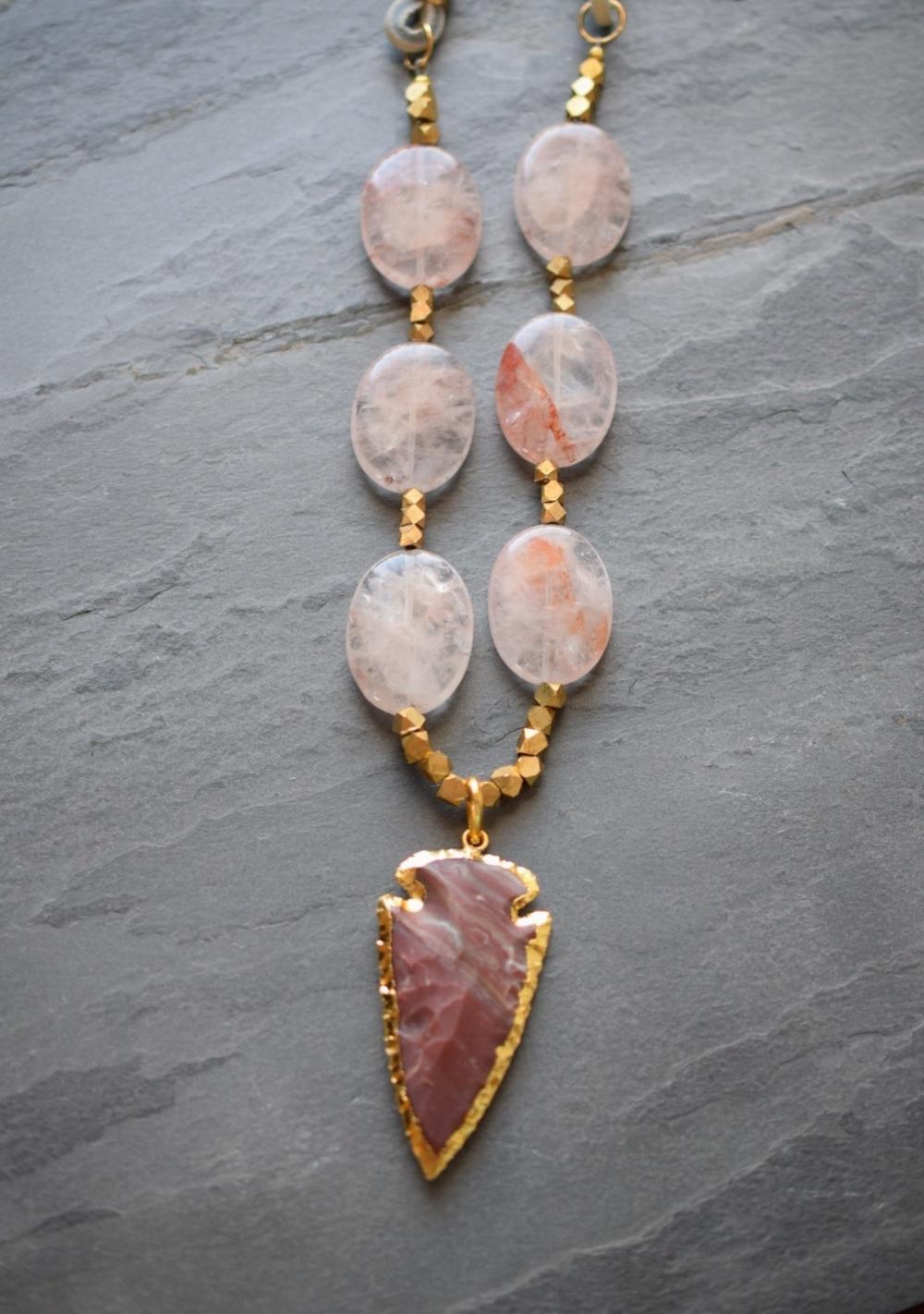 Rose Quartz Arrowhead Necklace, available  here