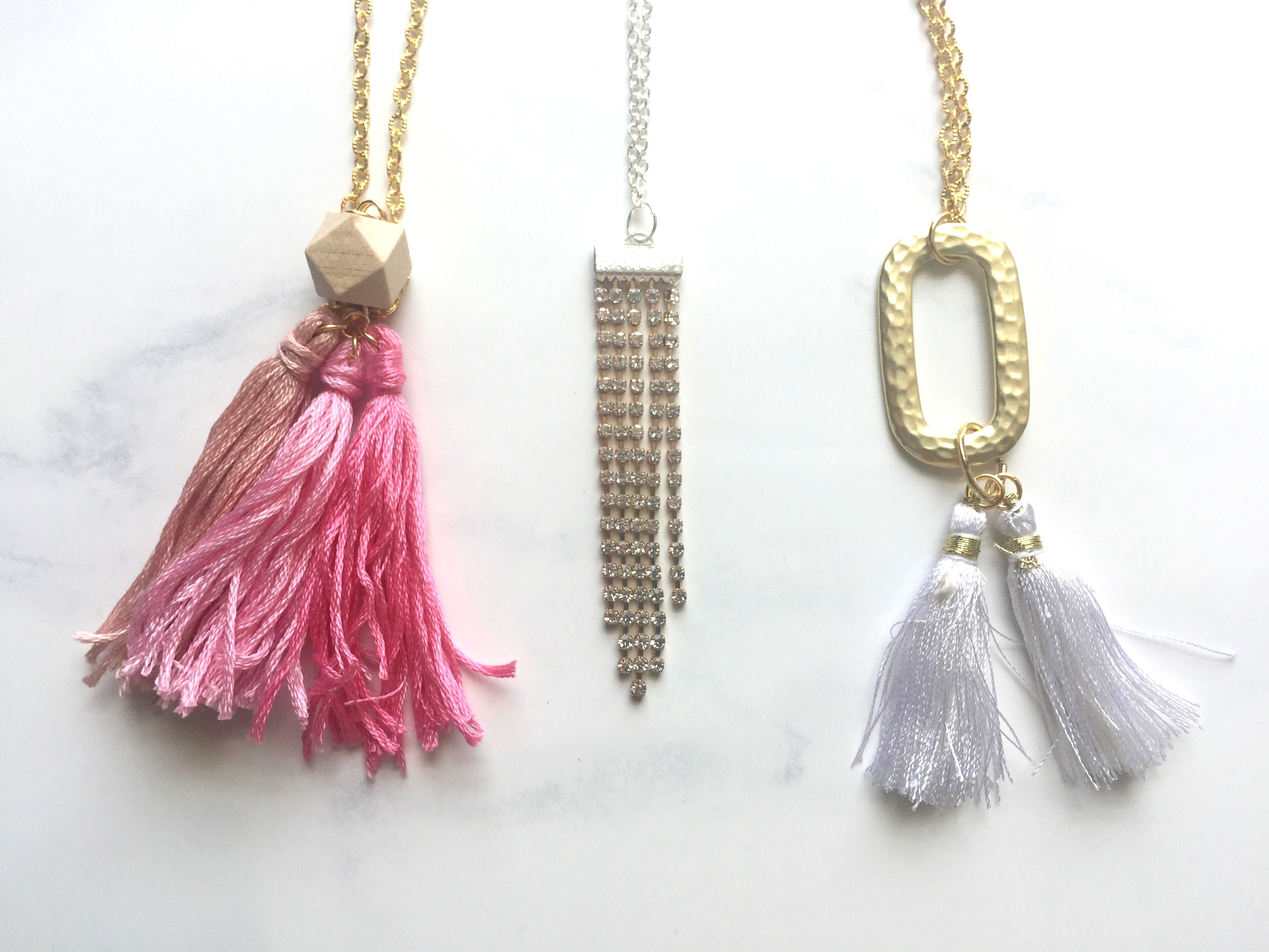 fancy boutique necklace product gold tassel
