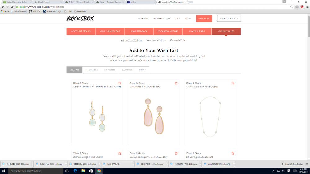 And this is what the Wish List area of the site looks like. I mostly used this area to see what jewelry they had in stock before returning my sets.