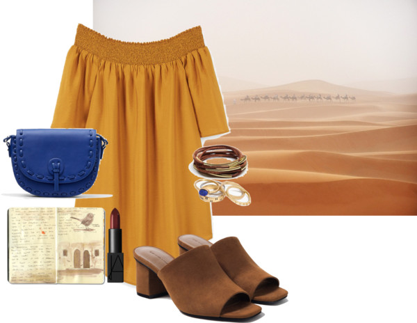 Dress .  Lipstick .  Bag .  Rings .  Bracelets (similar) .   Mules (on sale) .