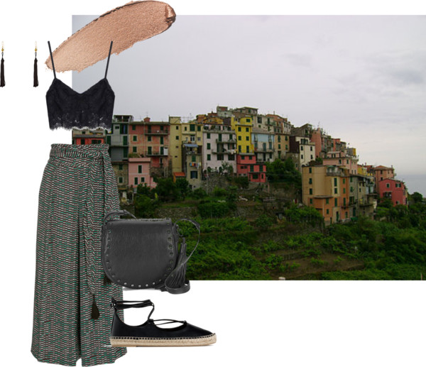 Earrings .  Eyeshadow .  Bralet (similar) .  Culottes (similar) .  Bag .  Espadrilles .
