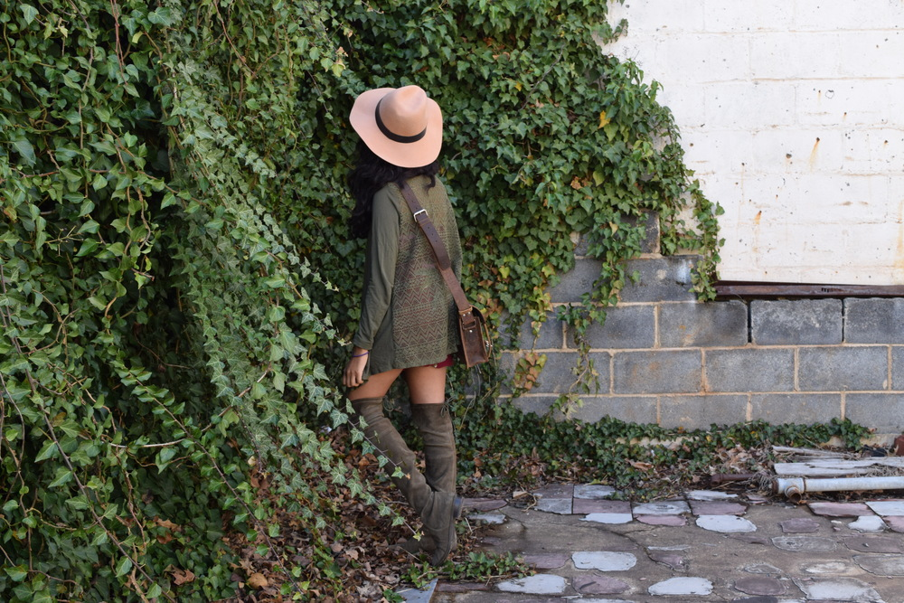 Hat. Cardigan. Bag (c/o). Romper. Boots.