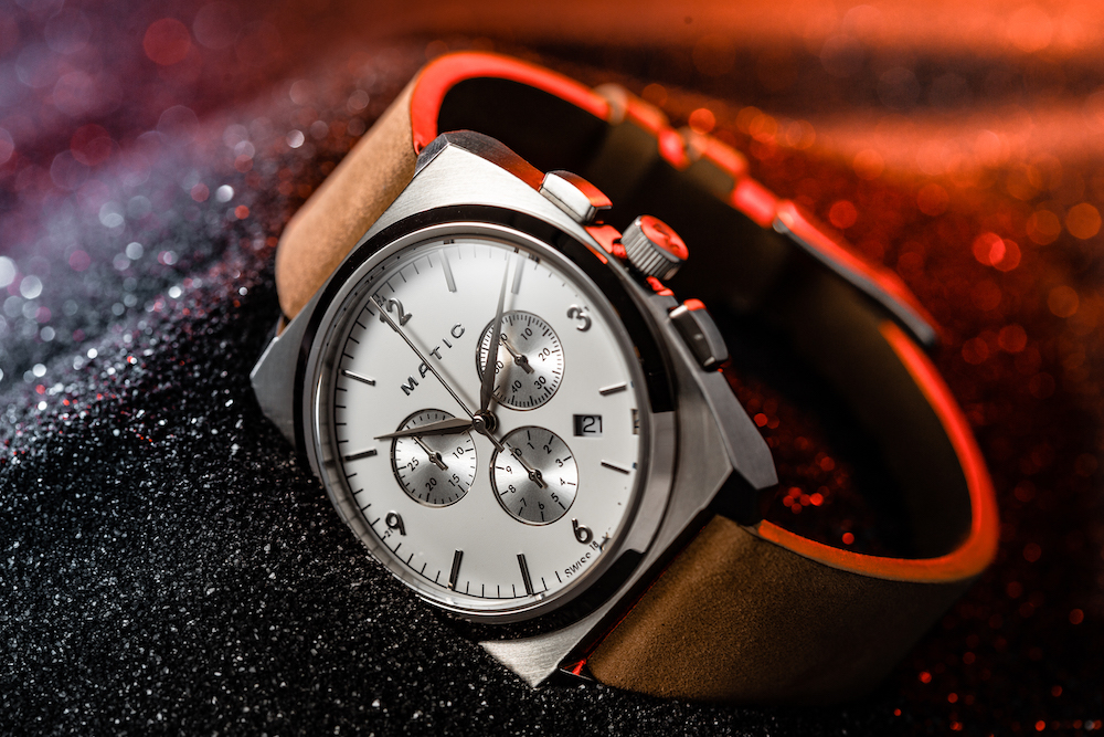Matic Moonraker watch with leather band