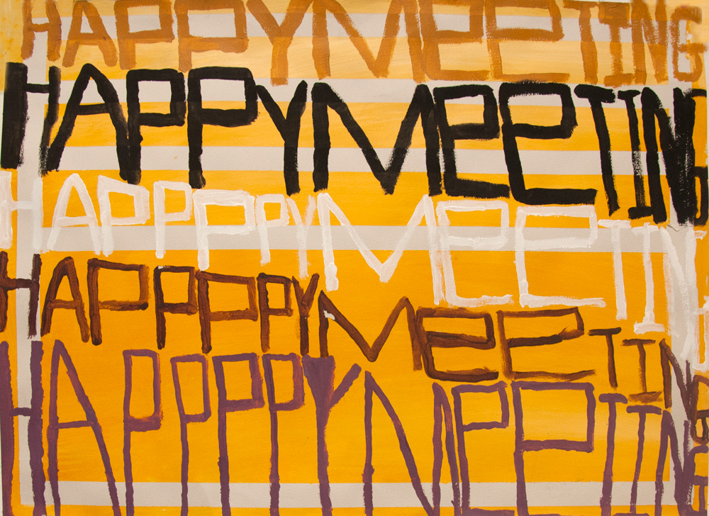 "Happy Meeting , Yasmin Arshad, Acrylic on rag paper, 22"" x 30"""