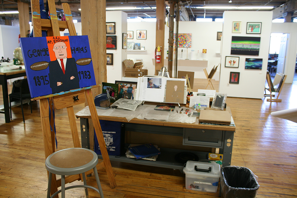 David Holt 's work space in the Project Onward studio