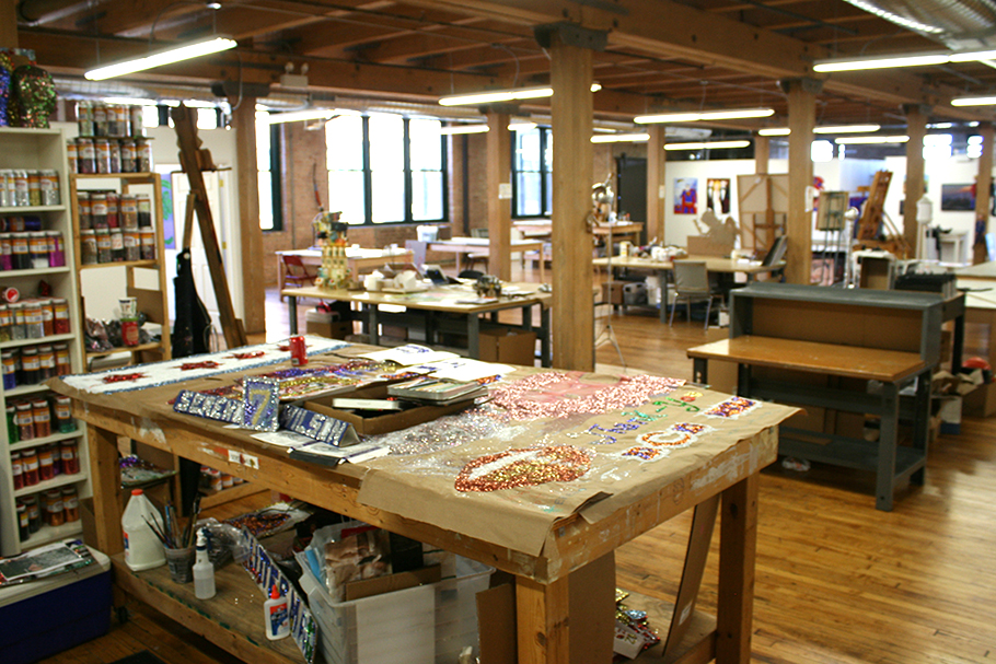 "Sereno ""Glitterman"" Wilson's  work space in the Project Onward studio"