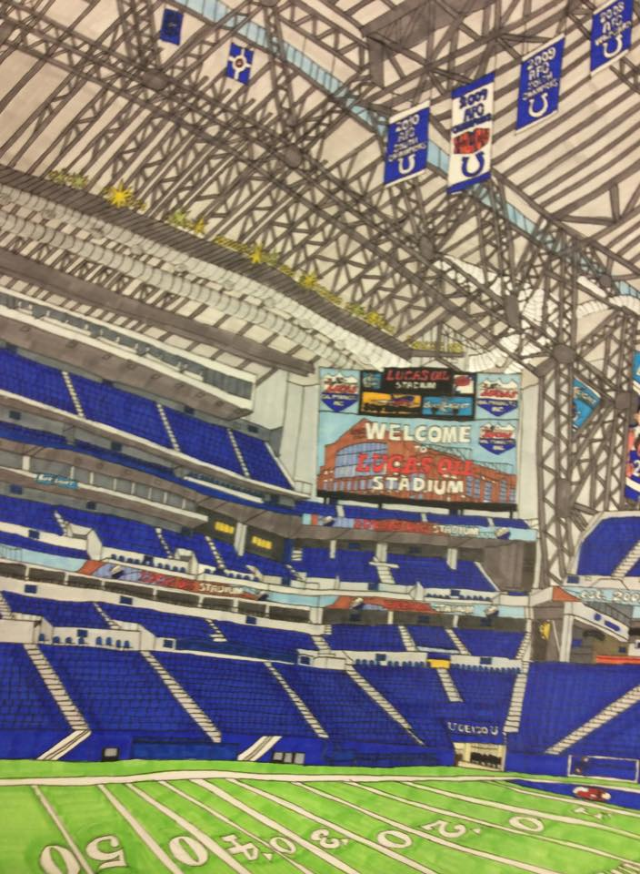 """Lucas Oil Stadium in downtown Indianapolis, Indiana, home of the Indianapolis Colts, and was home to this year's Final Four and the NCAA national basketball championship."""