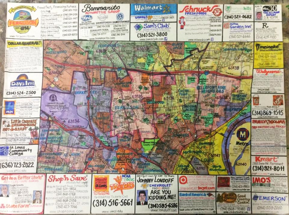 """Street map of Ferguson, Missouri including north central St. Louis county and Lambert airport area."""