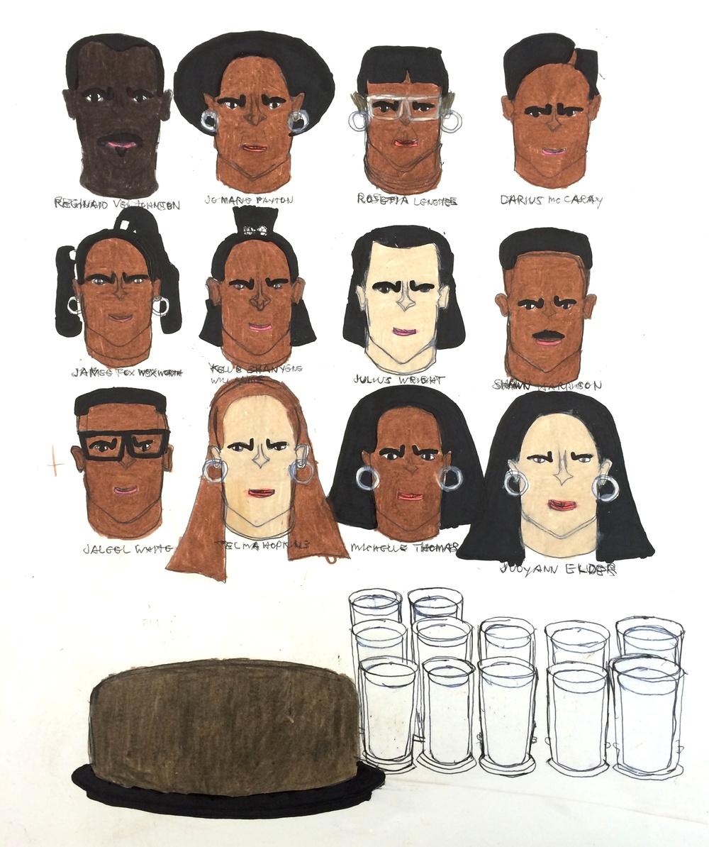 "Kenya Hanley,Family Matters,2015,Mixed Media on Paper,17"" x 14"", image courtesy Land Gallery"
