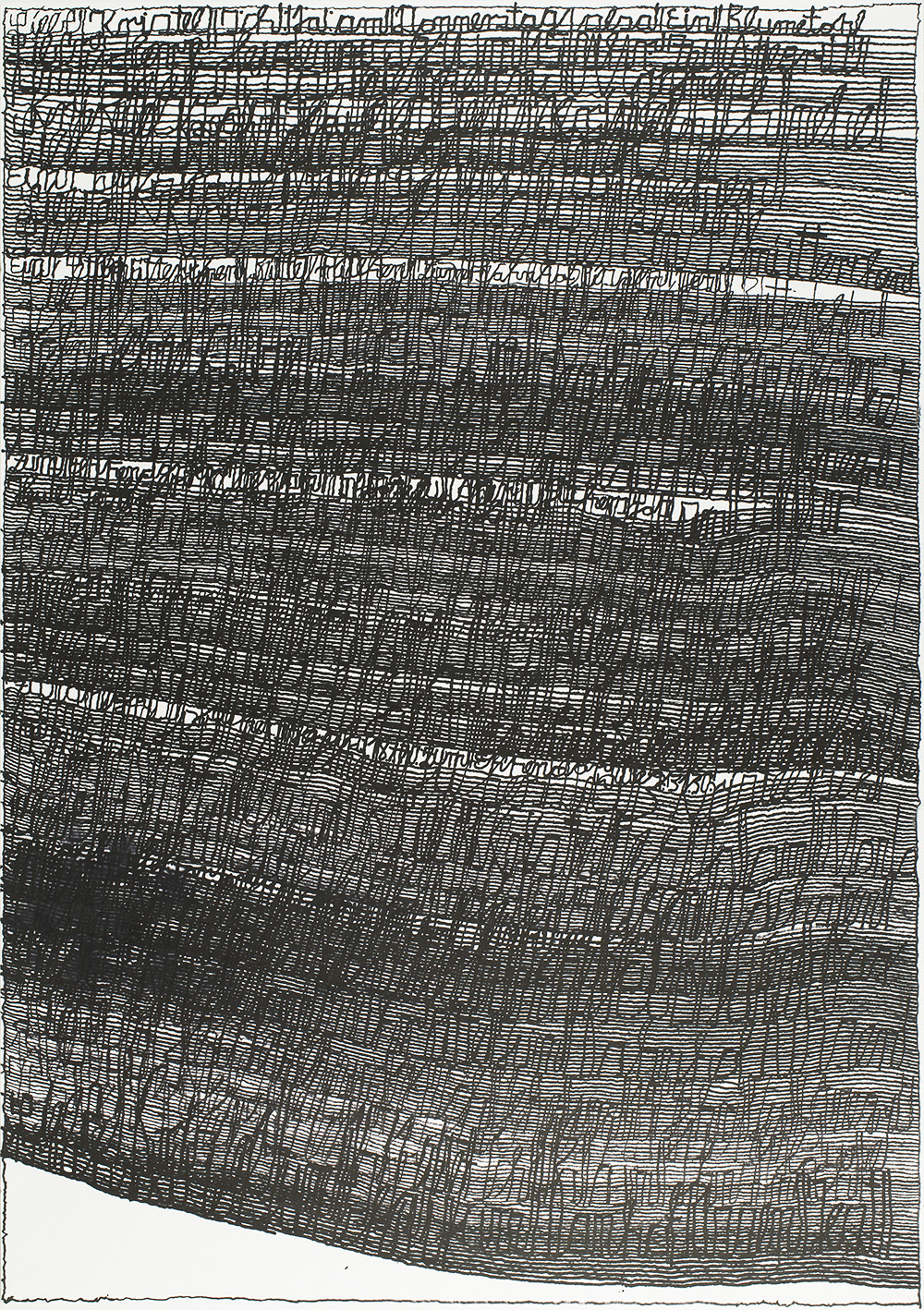 """Harald Stoffers, Brief 164, March 10th, 2012, ink on paper, 39.25"""" x 27.5"""", image courtesy Cavin Morris Gallery"""