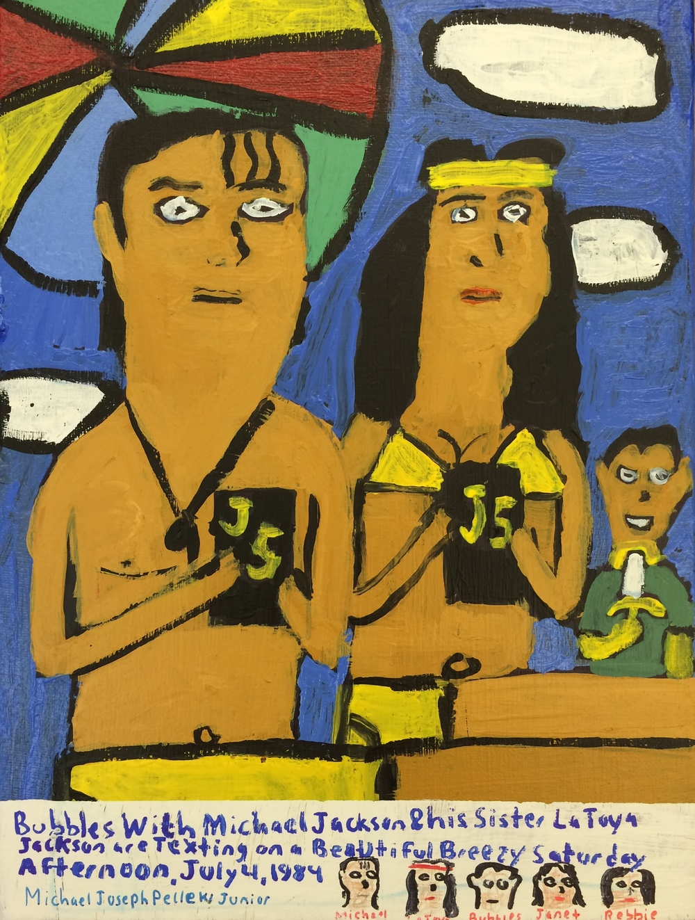 "Michael Pellew,  Michael and Latoya Texting on the Beach , 2015, Acrylic on Canvas, 12""x9"""