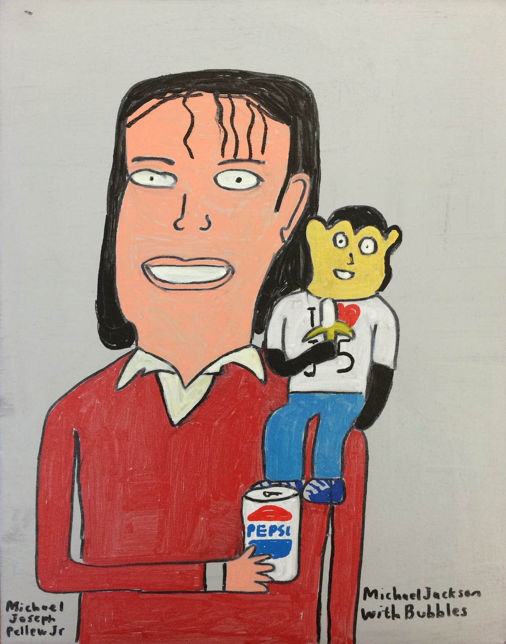 "Michael Pellew, Michael Jackson and Bubbles, 2014, Acrylic on Canvas, 14""x11"""