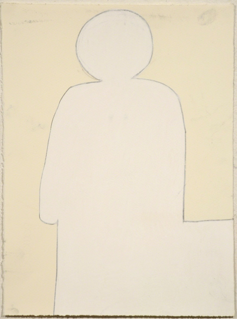 "Untitled (White on Cream),  pastel on paper, 15"" x 11 1/4"", 2010"