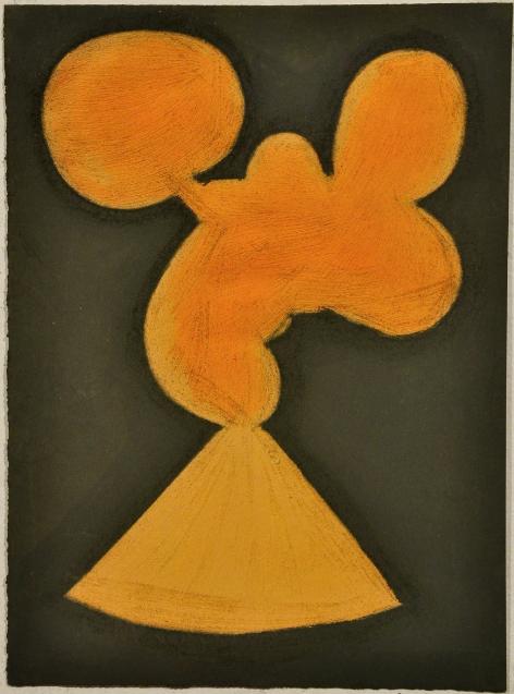 """Untitled (Orange Shape and Khaki),pastel on paper, 15"""" x 11 1/4"""", 2010"""
