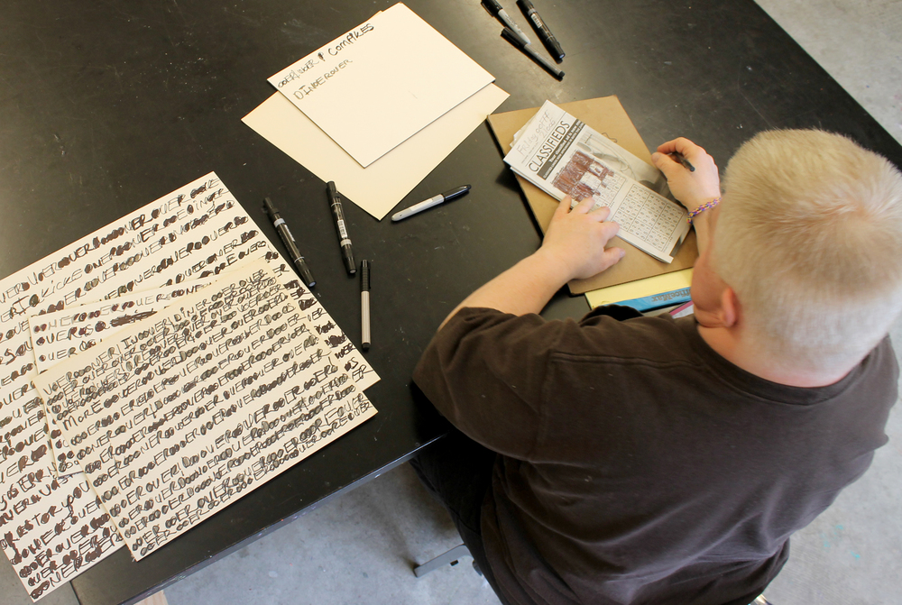The Canvas'Jeff Larabee working with a selection of archival markers and surfaces