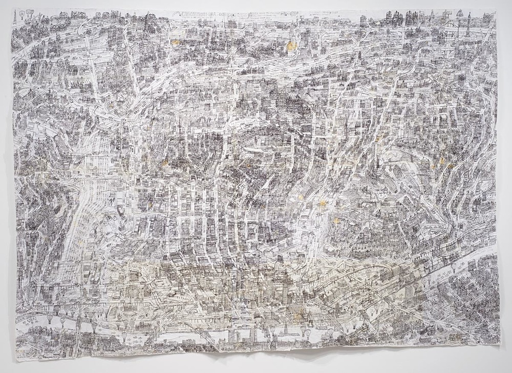 "Cincinnati Map, 2010, ballpoint pen on collaged paper, 64"" x 88"""