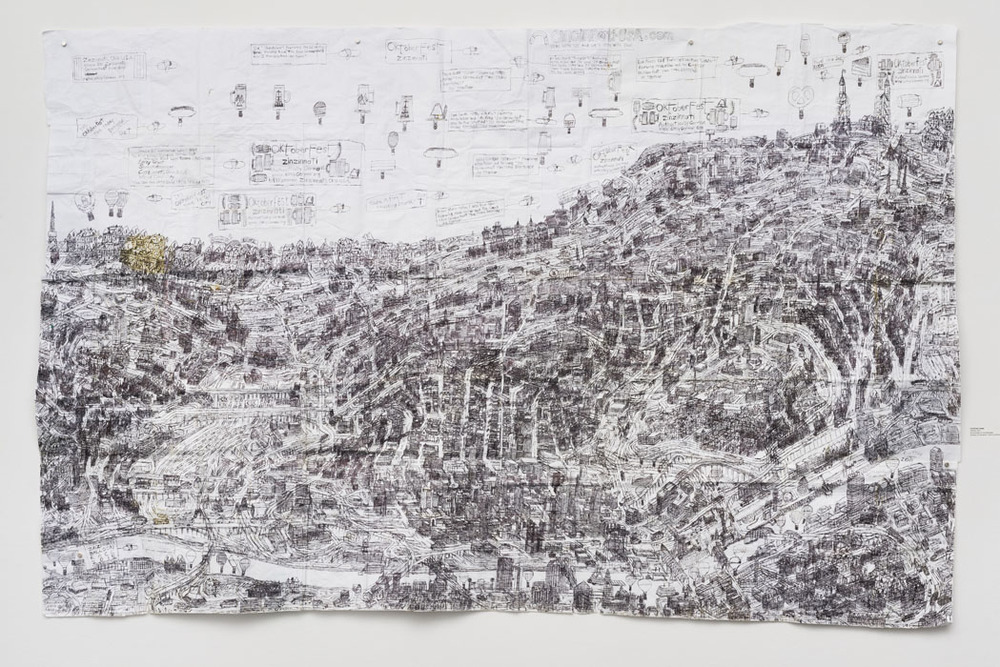 "Untitled, 2015, ballpoint pen on collaged paper, 52"" x 80"""