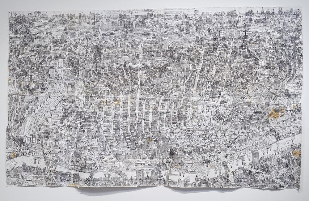"Cincinnati Map, 2009, ballpoint pen on collaged paper, 51"" x 85"""