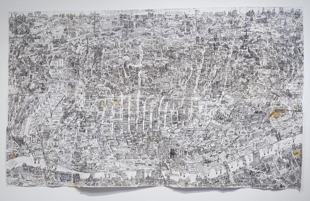 "Cincinnati Map, 2009, ballpoint pen on collaged paper, 51"" x 85"""