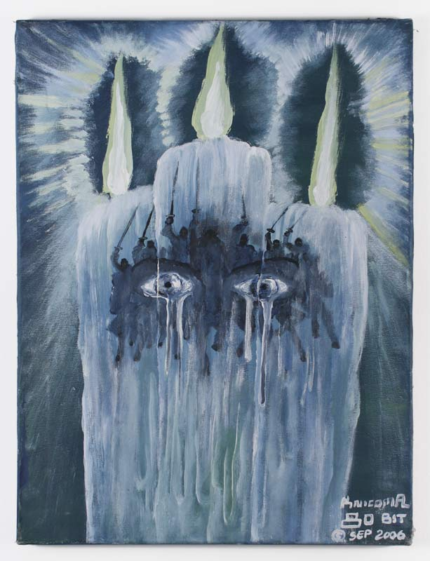 """Knicoma Frederick, Untitled (Candle Army Eyes) from the Series 80 Bit, 2006, Acrylic on canvas, 24"""" x 18"""""""