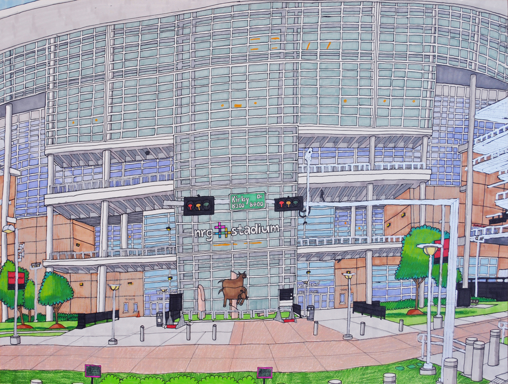 """West Club Entrance at NRG Stadium, graphite, micron, and marker on paper, 18"""" x 24"""", 2016"""