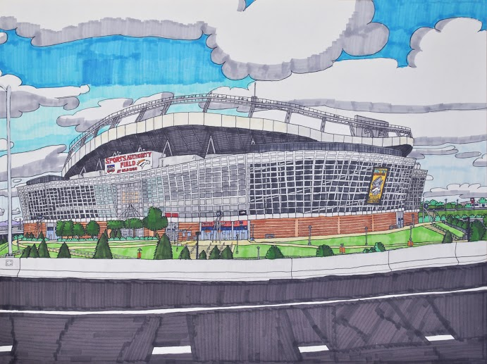 """Gates 5-8 of Sports Authority Field at Mile High, graphite, micron, and marker on paper, 18"""" x 24"""", 2016"""