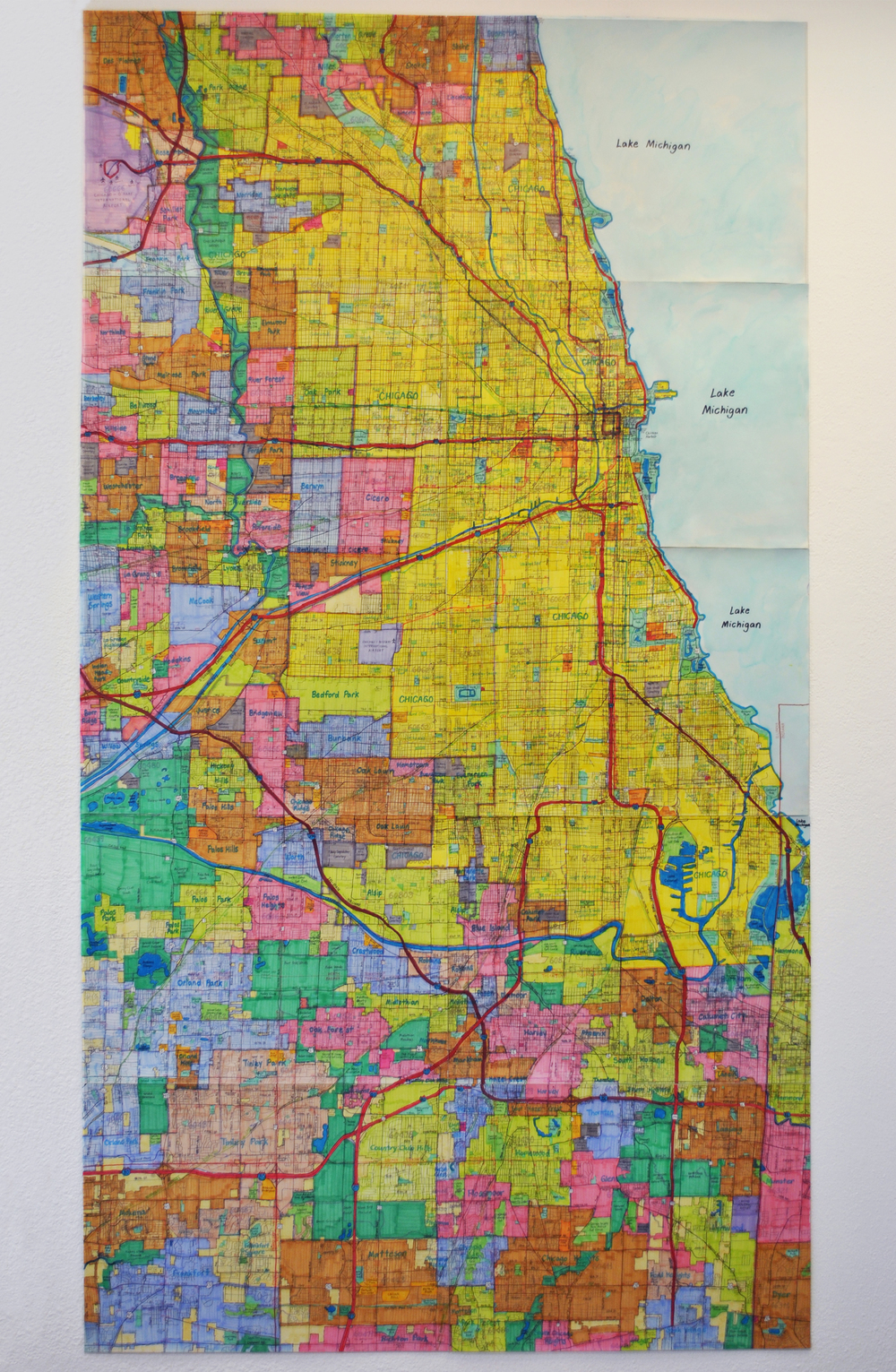 """Chicago Area Vicinity Map, graphite, micron, and marker on paper, 90"""" x 48"""""""