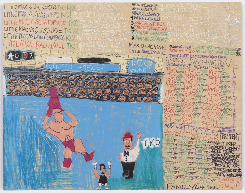 Daniel Green, Little Mac vs Soda Poponski, 2015, mixed media on wood, 11.5 x 15 inches