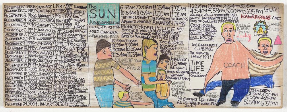 Daniel Green, The Sun, 2015, mixed media on wood, 6 x 16.5 x 1 inch