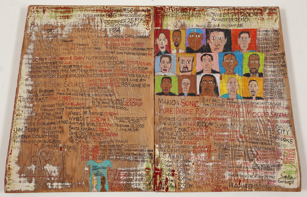 Daniel Green,  Fifteen People , 2009, Mixed media on wood, 14.25 x 22.5 x 1.75 inches