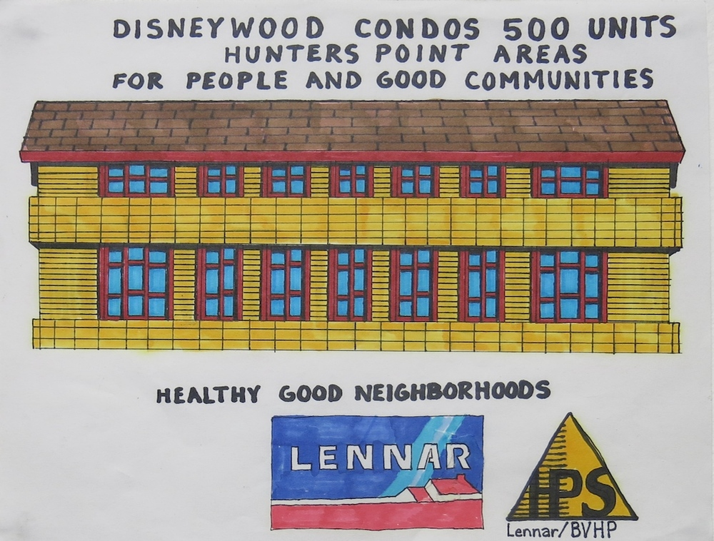 """Disneywood in Hunters Point Areas in San Francisco for the Redevelopment Agency, marker and ink on paper, 8.5"""" x 11"""" 2006"""