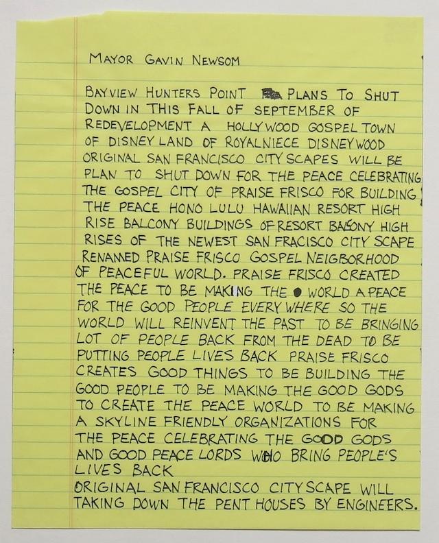 """Change to Mayor Edwin Lee, Ink on paper, 8.5"""" x 11"""", 2003"""