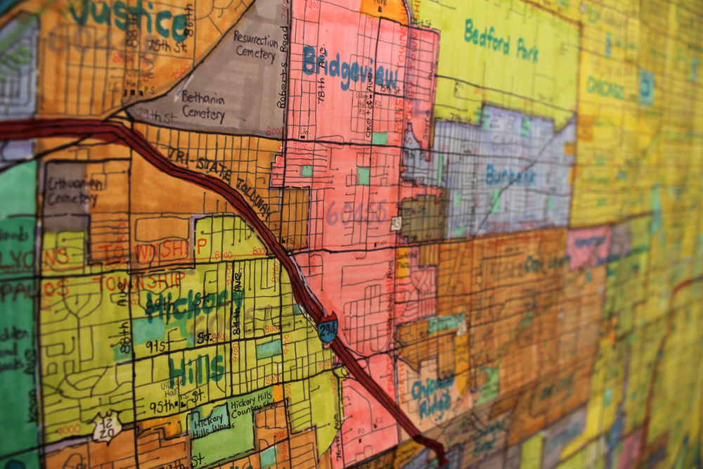 "Joe Zaldivar, Metropolitan Chicago and Southern Suburbs Area Street Map detail, graphite, micron, and illustration marker on paper, 90"" x 48', 7/21/15"