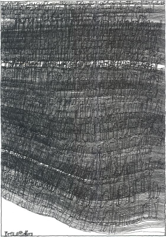 "Harald Stoffers at Cavin-Morris,  Brief 163 , 2010, waterproof felt tip pen on cardboard, 39.4"" x 27.5"""