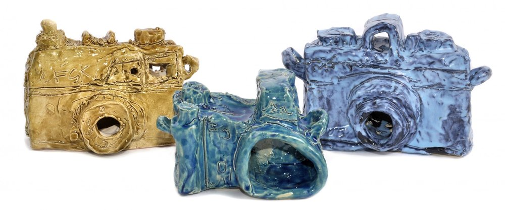 Untitled (Three Cameras), glazed ceramic, dimensions variable