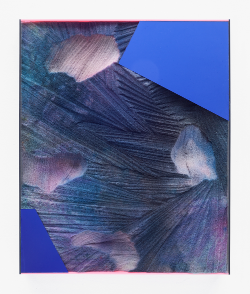 "Zachary Buchner, Untitled (DyedPurpleRefection), 2017, Dyed memory foam and mirrored acrylic, 19"" x 16"" x 2"""