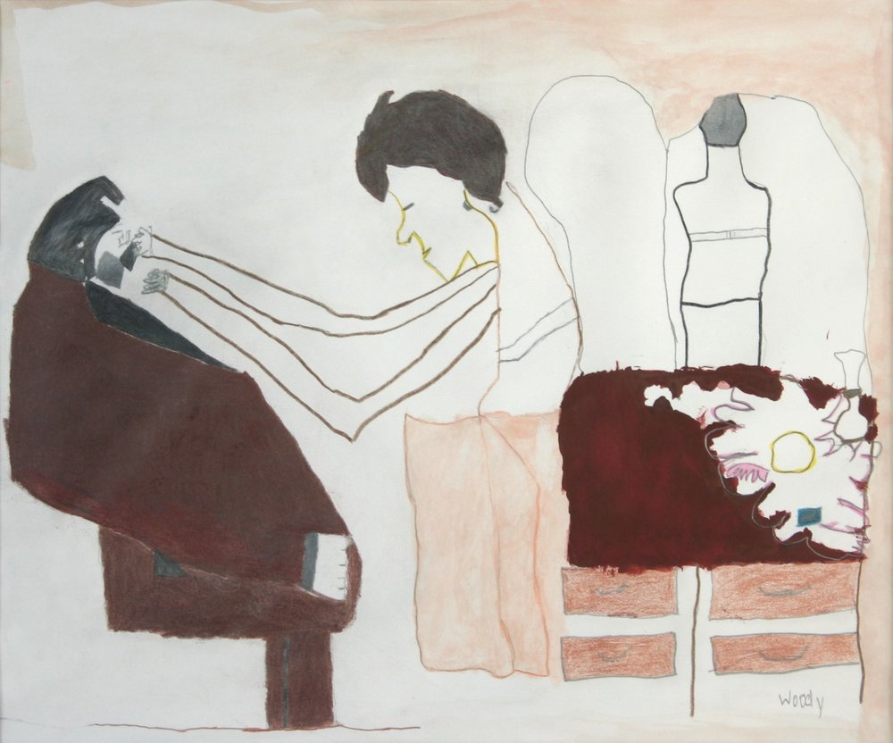 Before the Wedding Getting Dressed , mixed media on paper
