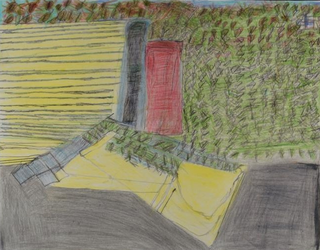 Lee Draus,  Open Door , 2016, graphite and colored pencil on paper