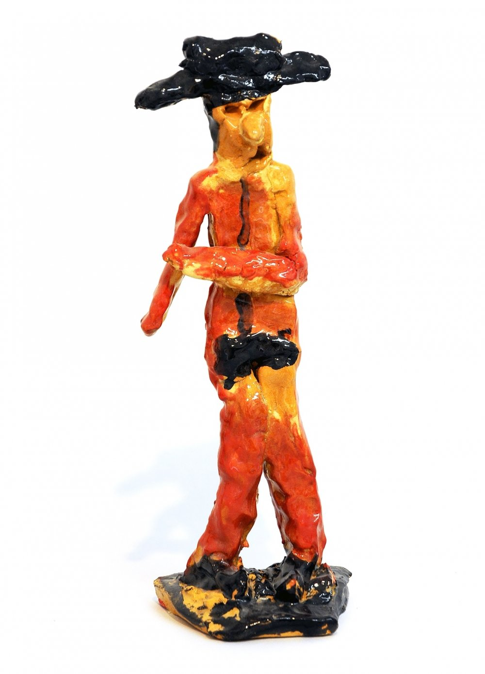 Billy White,  Untitled (Cowboy) , 2018, painted and glazed ceramic, 14 x 4.5 x 4 inches