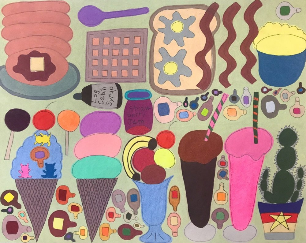 Breakfast, Ice Cream, and Meatball Toes , 2017, graphite and colored pencil on paper, 19 × 24 inches