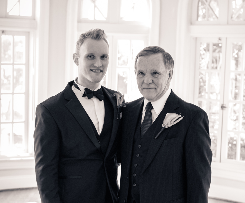 My Dad and me at my wedding. It still seems weird seeing myself without a beard.
