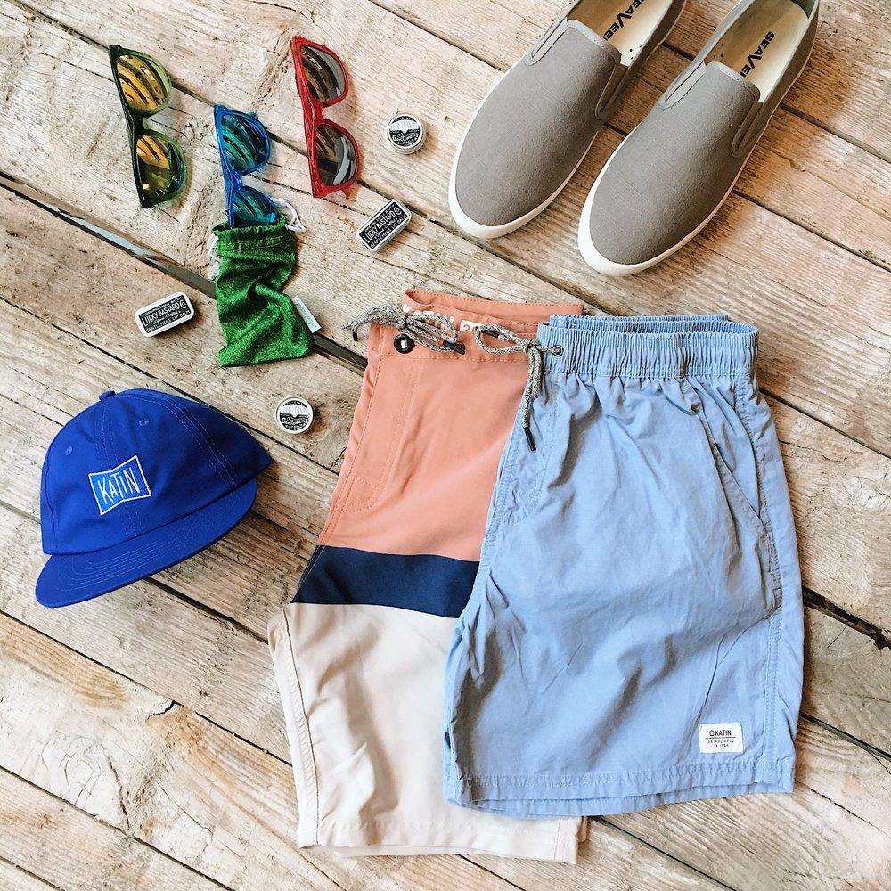Lucky Bastard Gentlemen's Lip Balm -  Original  &  Slider  - $8 each   Knockaround Blue Monochrome Classic  s  - $10   Knockaround Hook, Line & Sinker Premium  s  - $30   Knockaround + Staple Pigeon Pink Premiums  - $30   Katin Grubby Hat  - $30   Katin Waveline Trunk  - $49.60 (Sale)   Katin Poolside Volley Trunk  - $62   SeaVees Baja Slip On Sneakers  - $68
