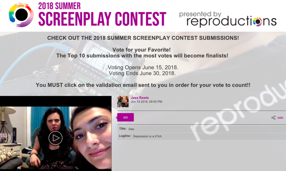 Vote for 'Dee'! - Reproductions Screenplay Contest - I've decided to re-write my original short play,