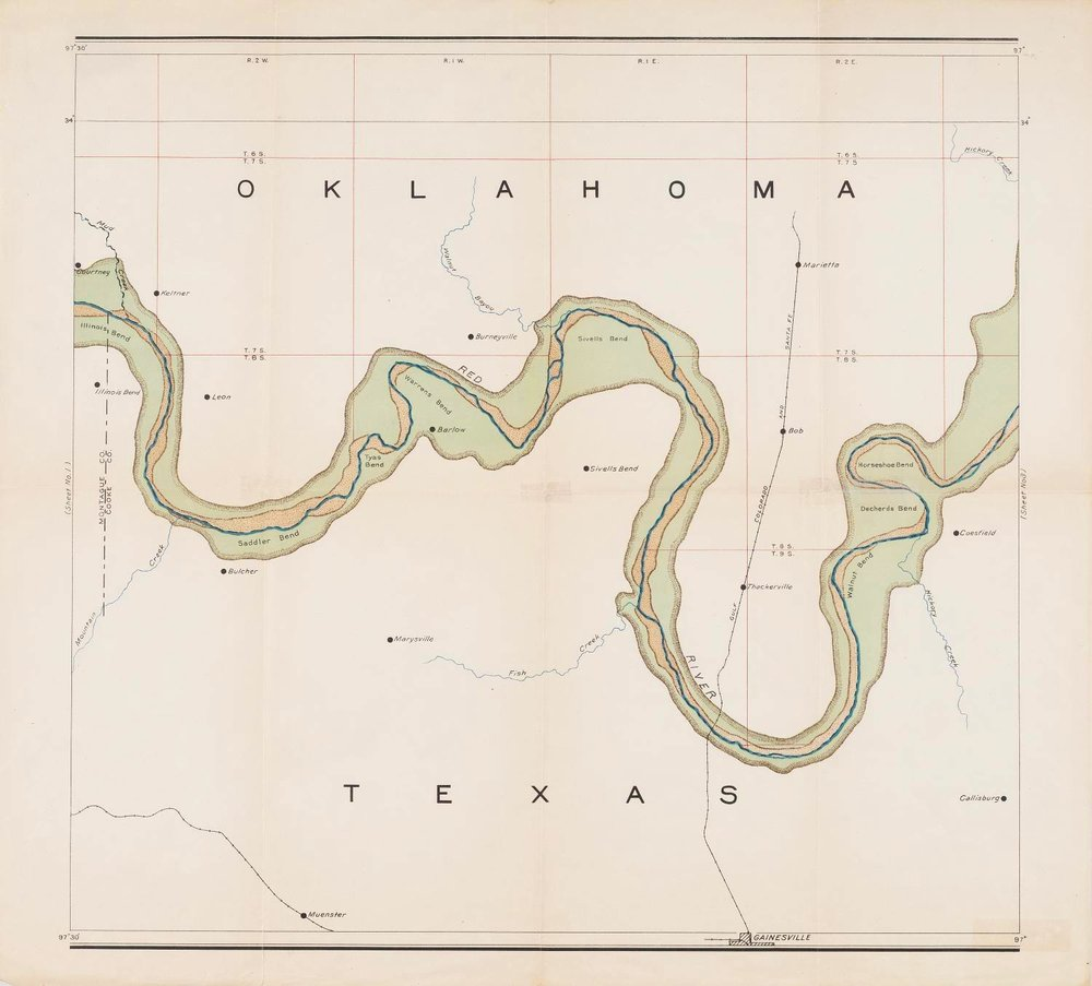 Map of valley of Red River in Texas, Oklahoma, and Arkansas between meridian 96°30′ and 98° west longitude: From topographic maps of the U.S. Geological Survey, map, 1920; Austin, Texas. (texashistory.unt.edu/ark:/67531/metapth492933/: accessed May 28, 2017), University of North Texas Libraries, The Portal to Texas History, texashistory.unt.edu; crediting Hardin-Simmons University Library.